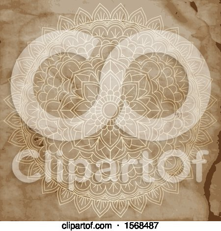 Clipart of a Mandala on Aged Stained Paper - Royalty Free Vector Illustration by KJ Pargeter
