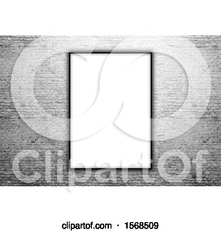 Clipart of a 3d Blank Picture Fame on a Stone Wall - Royalty Free Illustration by KJ Pargeter