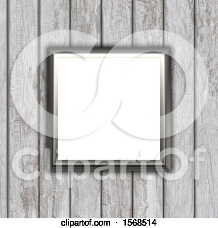 Clipart of a 3d Blank Picture Fame on a Wood Wall - Royalty Free Illustration by KJ Pargeter