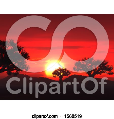 Clipart of a 3d Red Sunset and Silhouetted Trees - Royalty Free Illustration by KJ Pargeter