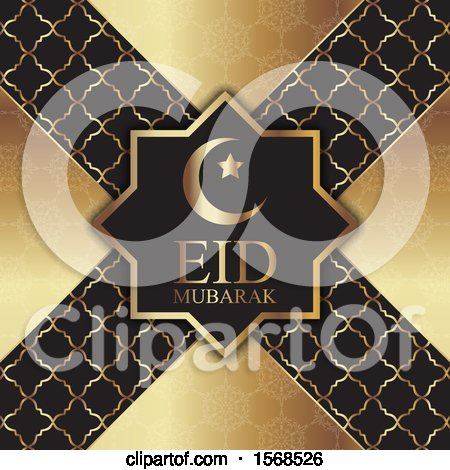 Clipart of an Eid Mubarak Background in Gold and Black - Royalty Free Vector Illustration by KJ Pargeter