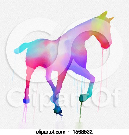 Clipart of a Dripping Colorful Watercolor Painted Horse, on a White Background - Royalty Free Vector Illustration by KJ Pargeter