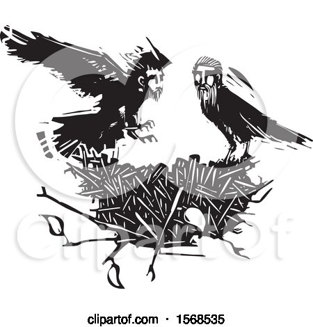 Clipart of a Nest and Black and White Crows with Heads of Men - Royalty Free Vector Illustration by xunantunich