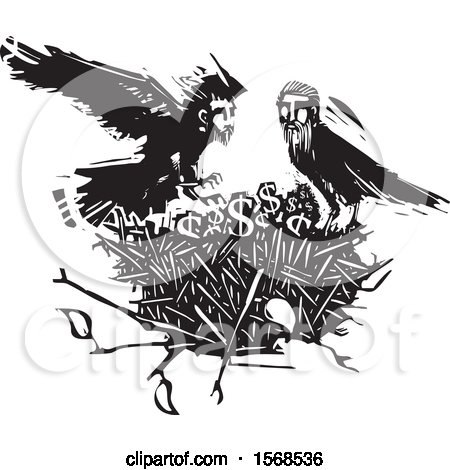 Clipart of a Nest with Dollar Symbols and Black and White Crows with Heads of Men - Royalty Free Vector Illustration by xunantunich