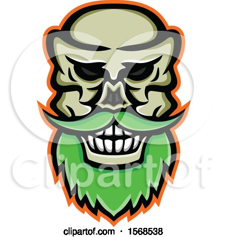 Clipart of a Creepy Skull with a Mustache and Beard - Royalty Free Vector Illustration by patrimonio