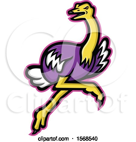 Clipart of a Tough Ostrich Sports Mascot - Royalty Free Vector Illustration by patrimonio
