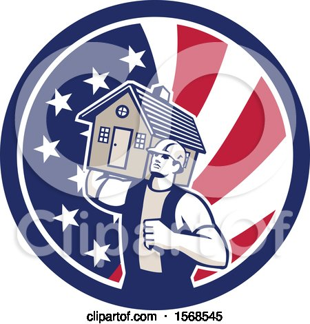 Clipart of a Retro Male Mover Holding a House in an American Flag Circle - Royalty Free Vector Illustration by patrimonio