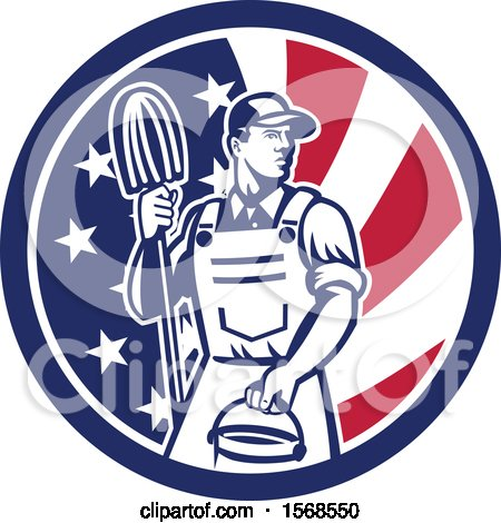 Clipart of a Retro Male Janitor with a Mop and Bucket in an American Flag Circle - Royalty Free Vector Illustration by patrimonio
