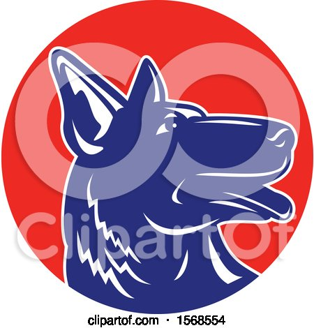 Clipart of a Profiled Woodcut Blue and White German Shepherd Dog in a Red Circle - Royalty Free Vector Illustration by patrimonio