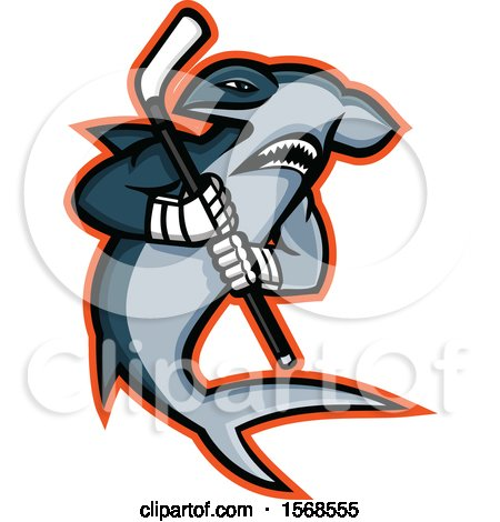 Clipart of a Tough Hammerhead Shark Sports Mascot Holding an Ice Hockey Stick - Royalty Free Vector Illustration by patrimonio