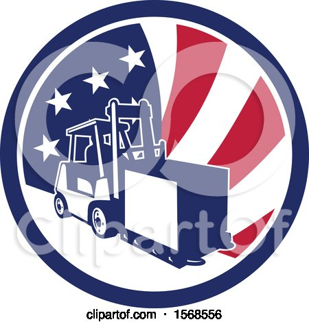 Clipart of a Retro Forklift Moving a Box in an American Flag Circle - Royalty Free Vector Illustration by patrimonio