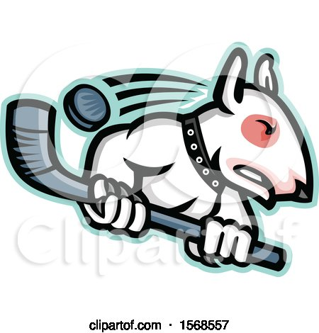 Clipart of a Tough Bull Terrier Dog Wielding a Hockey Stick - Royalty Free Vector Illustration by patrimonio