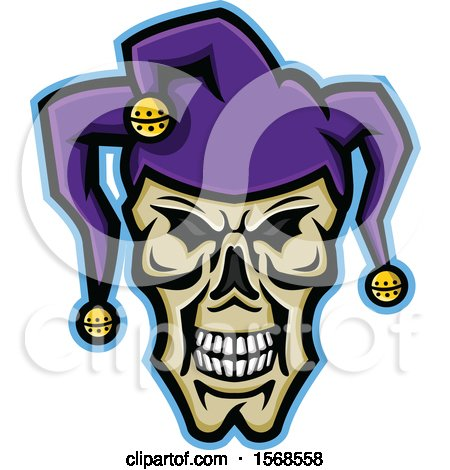Clipart of a Creepy Jester Face Skull Wearing a Hat - Royalty Free Vector Illustration by patrimonio