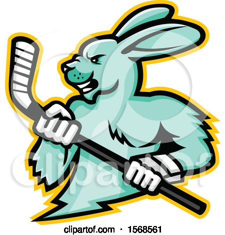 Clipart of a Tough Jackrabbit Sports Mascot Holding an Ice Hockey Stick - Royalty Free Vector Illustration by patrimonio