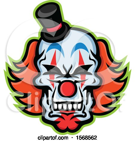 Clipart of a Creepy Clown Skull Face with a Top Hat - Royalty Free Vector Illustration by patrimonio