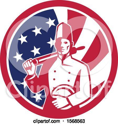 Clipart of a Retro Male Chef with a Plate and Rolling Pin in an American Flag Circle - Royalty Free Vector Illustration by patrimonio