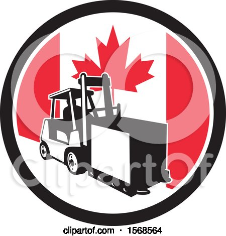 Clipart of a Retro Forklift Moving a Box in a Canadian Flag Circle - Royalty Free Vector Illustration by patrimonio
