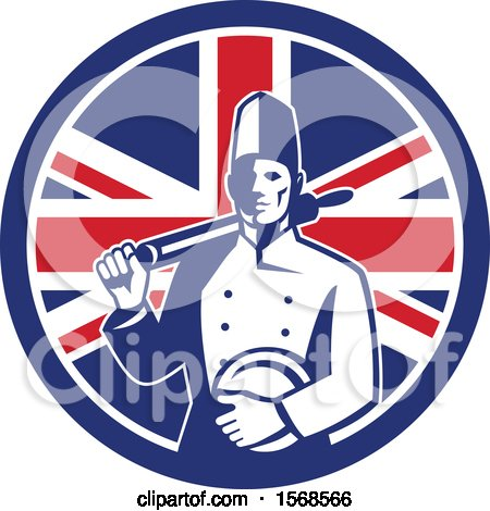 Clipart of a Retro Male Chef with a Plate and Rolling Pin in a Union Jack Flag Circle - Royalty Free Vector Illustration by patrimonio