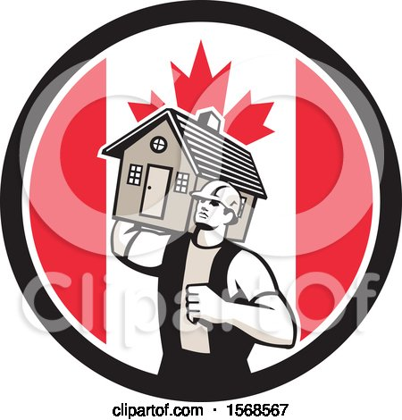 Clipart of a Retro Male Mover Holding a House in a Canadian Flag Circle - Royalty Free Vector Illustration by patrimonio