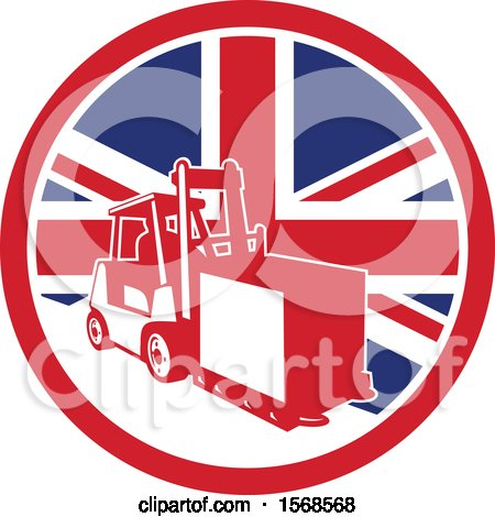 Clipart of a Retro Forklift Moving a Box in a Union Jack Flag Circle - Royalty Free Vector Illustration by patrimonio