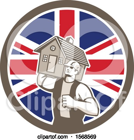 Clipart of a Retro Male Mover Holding a House in a Union Jack Flag Circle - Royalty Free Vector Illustration by patrimonio