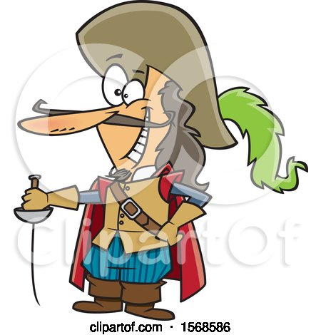 Clipart of a Cartoon Man with a Sword and Long Nose, Savinien De Cyrano De Bergerac - Royalty Free Vector Illustration by toonaday