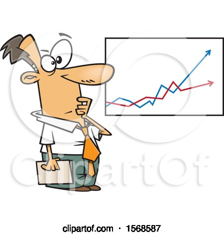 Clipart of a Cartoon Economist Business Man Viewing a Growth and Decline Chart - Royalty Free Vector Illustration by toonaday