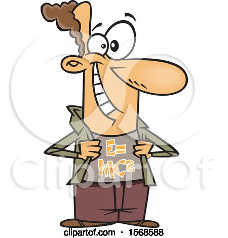 Clipart of a Cartoon Male Physicist Wearing a Mass Energy Equivalence Shirt - Royalty Free Vector Illustration by toonaday