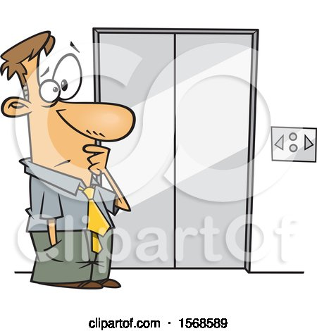 Clipart of a Cartoon Business Man at an Elevator That Moves Sideways - Royalty Free Vector Illustration by toonaday