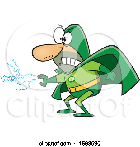 Clipart of a Cartoon Male Super Villain with Electricity Shooting from His Hand - Royalty Free Vector Illustration by toonaday