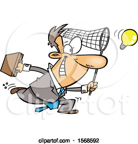 Clipart of a Cartoon Entrepeneur Business Man Chasing an Idea - Royalty Free Vector Illustration by toonaday