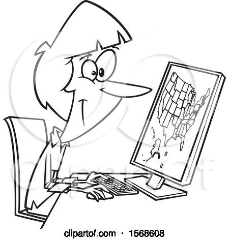 Clipart of a Cartoon Lineart Female Cartographer Creating a Map on a Computer - Royalty Free Vector Illustration by toonaday