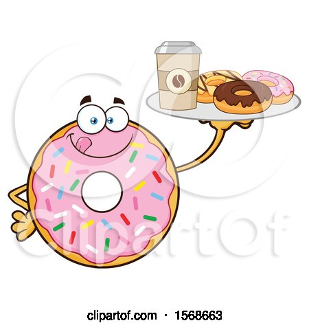 Clipart of a Cartoon Pink Glazed and Sprinkle Donut Mascot Holding a Tray of Donuts and Coffee - Royalty Free Vector Illustration by Hit Toon