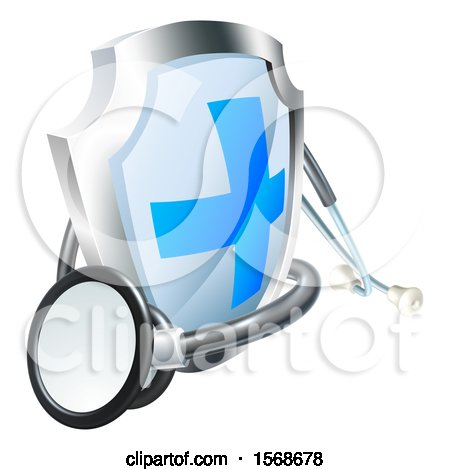 Clipart of a 3d Stethoscope and a Medical Shield - Royalty Free Vector Illustration by AtStockIllustration