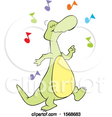 Clipart of a Cartoon Dinosaur Dancing to Music - Royalty Free Vector Illustration by Johnny Sajem