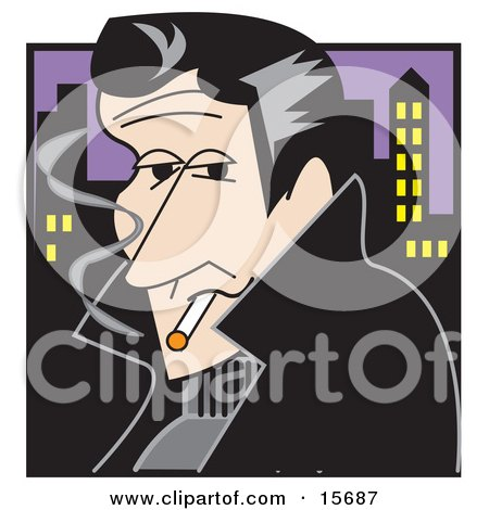 Handsom Rebellious Man Smoking A Cigarette At Night Near A City Posters, Art Prints