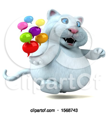 Clipart of a 3d White Kitty Cat Holding Messages, on a White Background - Royalty Free Illustration by Julos