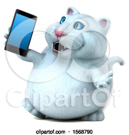 Clipart of a 3d White Kitty Cat Holding a Mobile Phone, on a White Background - Royalty Free Illustration by Julos