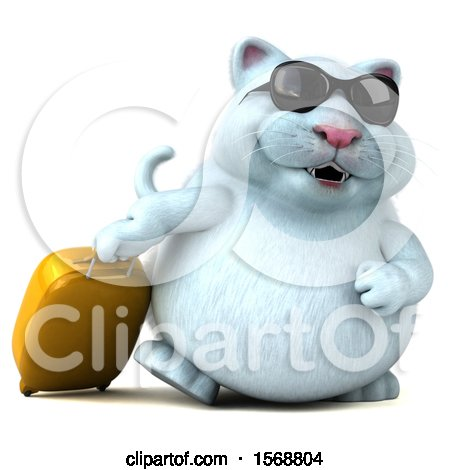 Clipart of a 3d White Kitty Cat Traveler with Luggage, on a White Background - Royalty Free Illustration by Julos