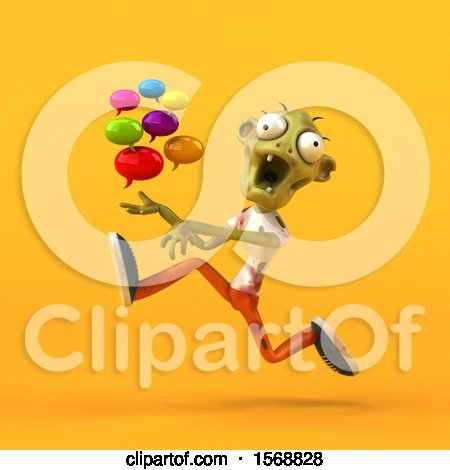 Clipart of a 3d Zombie Holding Messages, on a Yellow Background - Royalty Free Illustration by Julos