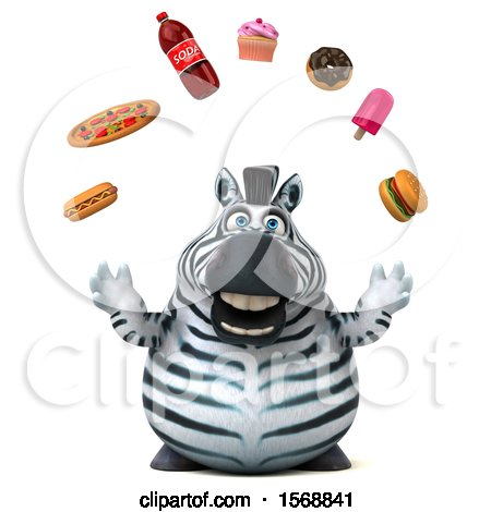 Clipart of a 3d Zebra Juggling Junk Food, on a White Background - Royalty Free Illustration by Julos