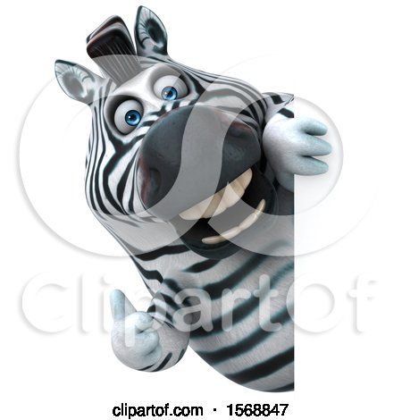 Clipart of a 3d Zebra Holding a Thumb Up, on a White Background - Royalty Free Illustration by Julos