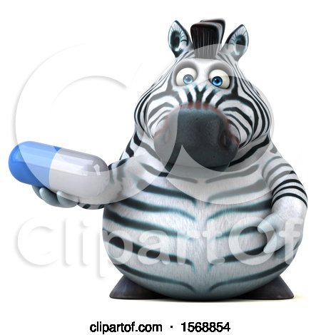 Clipart of a 3d Zebra Holding a Pill, on a White Background - Royalty Free Illustration by Julos