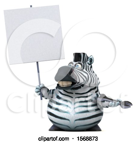 Clipart of a 3d Zebra Holding a Wrench, on a White Background - Royalty Free Illustration by Julos