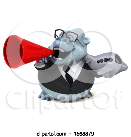 Clipart of a 3d White Business Monkey Yeti Holding a Plane, on a White Background - Royalty Free Illustration by Julos