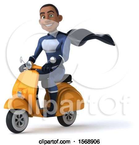 Clipart of a 3d Black Male Dark Blue Super Hero Riding a Scooter, on a White Background - Royalty Free Illustration by Julos
