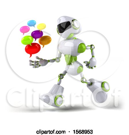 Clipart of a 3d Green and White Robot Holding Messages, on a White Background - Royalty Free Illustration by Julos