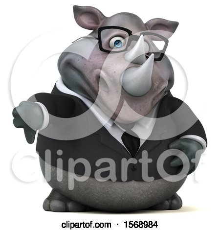 Clipart of a 3d Business Rhinoceros Holding a Thumb Down, on a White Background - Royalty Free Illustration by Julos