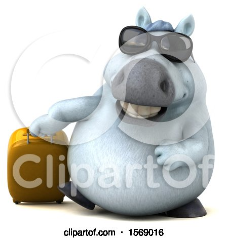 Clipart of a 3d Chubby White Horse Traveling, on a White Background - Royalty Free Illustration by Julos