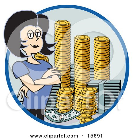 Successful Businesswoman Standing With Her Arms Crossed By Stacks Of Coins And Money Clipart Illustration by Andy Nortnik